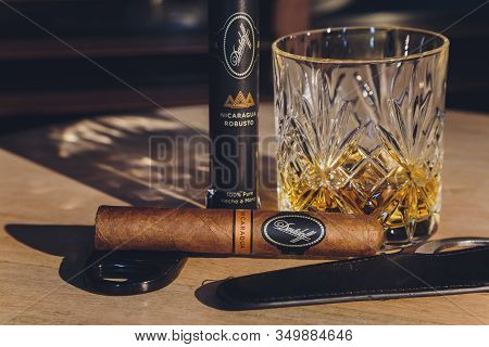 Ufa, Russia, 15 November, 2018: Whiskey Drinks With Cigars On Wooden Table