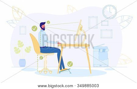 Correct Position To Sit At Table Flat Cartoon Vector Illustration. Ergonomic Concept, Right Posture