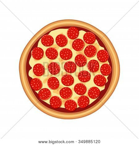 Tasty Pepperoni Pizza With Sausage, Cheese Top View Isolated On White Background. Flat Traditional I