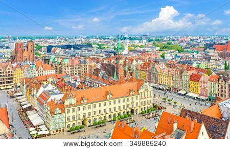 Top Aerial Panoramic View Of Wroclaw Old Town Historical City Centre With Rynek Market Square, Old T