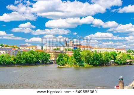 View Of Prague Old Town, Historical Center With Prague Castle, St. Vitus Cathedral In Hradcany Distr