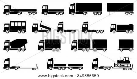 Set Of Vector Trucks , Transport, Transportation And Shipping Flat Design Illustration In Eps 10