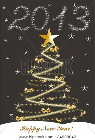 Christmas And New Year Card  With 2013 On A Black Background
