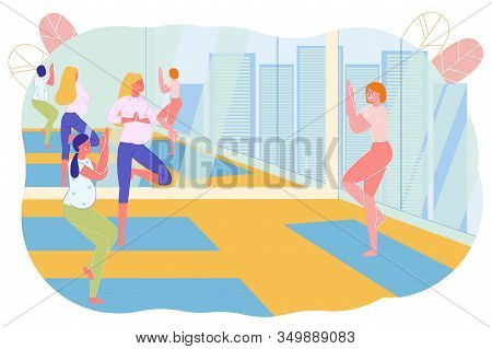 Yoga Classes Or Lessons For Pregnant Woman With Instructor Flat Cartoon Vector Illustration. Woman I