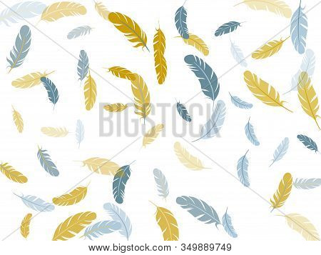 Carnival Silver Gold Feathers Vector Background. Detailed Majestic Feather On White Design. Soft Plu
