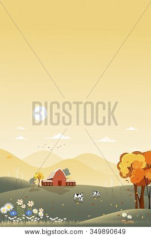 Fantasy Panorama Landscapes Of Countryside In Autumn,panoramic Of Mid Autumn With Farm House  With T