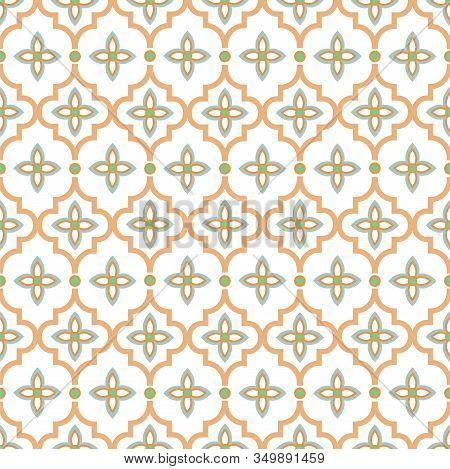 Oriental Tile Seamless Pattern. Arabic Moroccan Ceramic Tiles Design Pastel Colors. Quatrefoil Flora