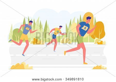 Athletes Take Part In Race, Have Fun Competing. Three Young People In Sportswear Are Running On Two-