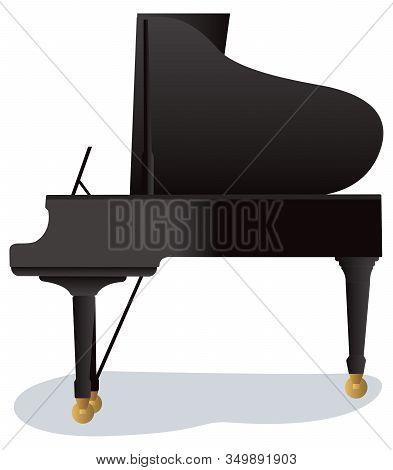 Flat Design Illustration Of Big Black Piano Royal Isolated On White Background.