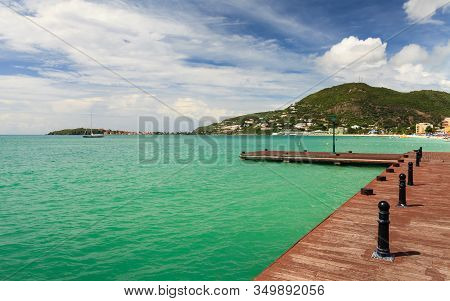 Philipsburg, St. Maarten - November 4:  The Pier On Captain Hodge Wharf Is A Landing Stage In Philip