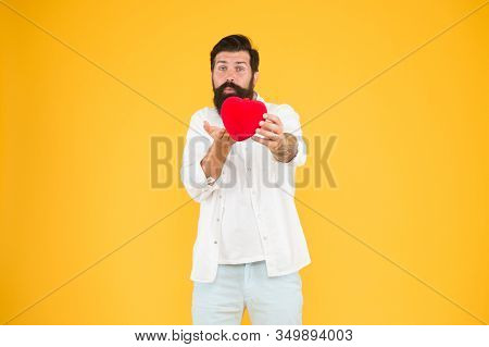 Being Honest. Romantic Guy With Red Heart Toy. Romance Concept. Celebrate Valentines Day. Romantic H