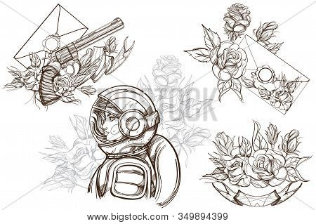 Girl In A Spacesuit For T-shirt Design Or Print. Woman Astronaut. Cosmic Beauty. A Set Of Outline Il