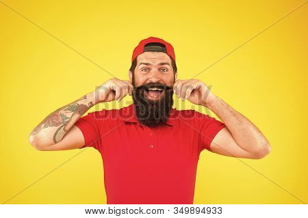 Moustache Grooming Guide. Hipster Handsome Guy Touching Moustache. Tips For Growing And Maintaining