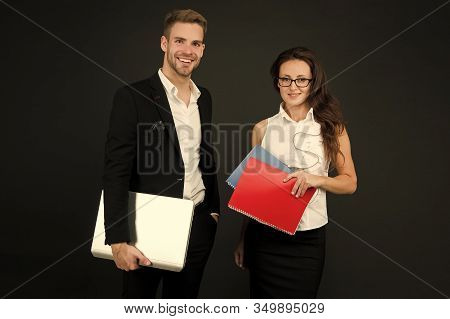 Entrepreneurial Relationship. Couple Of Business Partners. Business Professionals At Work. Sexy Woma