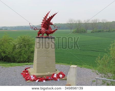 Mametz, Somme, France - May 1, 2019. Monument To 38th Welsh Division Of Fussiliers In Mametz Wood Co