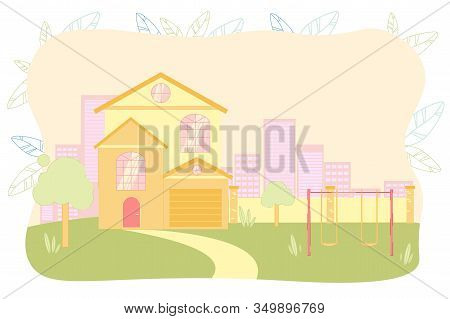 Elementary, Primary, Nursery School, Kindergarten, Daycare Building Facade With Place For Children P