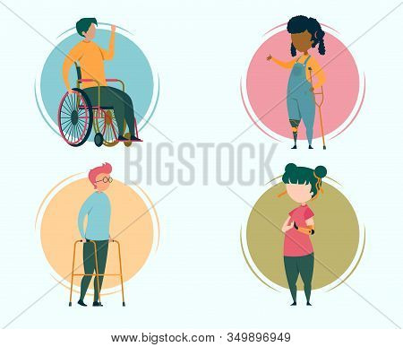 Children Characters With Disabilities Flat Cartoon Vector Illustration. Boy On Wheelchair, Girl Stan
