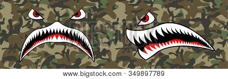 Flying Tiger Shark For T-shirt Design. Trendy Element For Silkscreen Clothing. Mouth Tiger Shark For