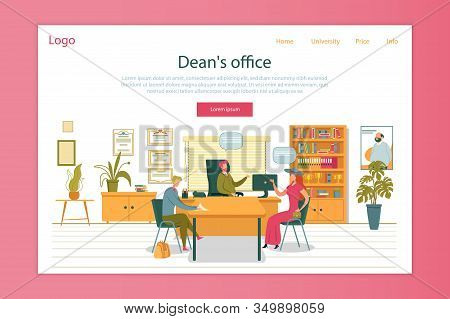 Student And Mother Sitting At Deans Office And Having Talk Flat Cartoon Vector Illustration. Woman W
