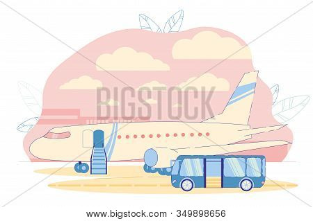 Airport Bus Near Arrived Airplane On Airfield Waiting For Passengers. Secure And Safe People Relocat