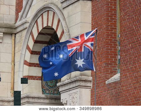 Albert, Somme, France - May 1, 2019. Australian Flag Next To Somme Museum To Commemorate Ww1 Battles