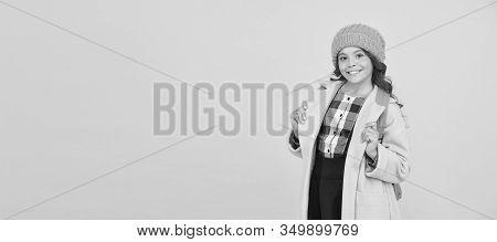 Fall Fashion. Little Girl Wearing Stylish Hat And Coat. Schoolgirl Fancy Child. Aesthetics Of Clothe