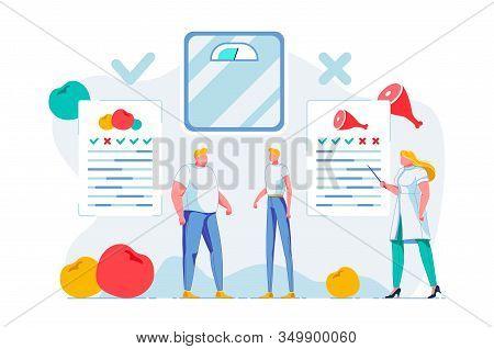 Nutritionist Consultation Flat Vector Illustration. Female Dietitian Explaining Healthy Nutrition Pr