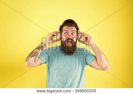 Wireless Headphones Deliver Clean Sound. Modern Technology. Hipster Happy Using Modern Wireless Head