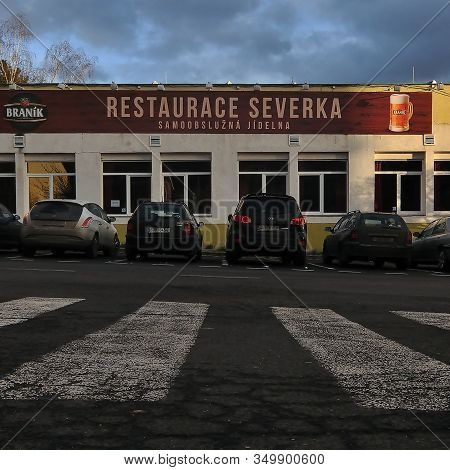 Most, Czech Republic - January 29, 2020: Legendary Severka Restaurant In Centre Of City In Cloudy Af