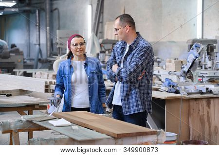 Industrial Portrait Of Working Men And Women, People Talking At Work, Furniture Joinery Production