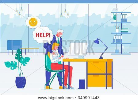 Workplace Harassment Flat Vector Illustration. Elderly Man Touching Young Woman, Male Office Worker