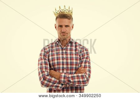 This Is Success. Confident Champion. Crowned Champion With Crown Isolated On White. Handsome Man Got