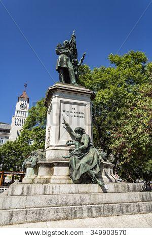 Lisbon - August 28, 2019: Magnificent Bronze Statue On Carrara Marble Pedestal Of Marquis De Sa Da B