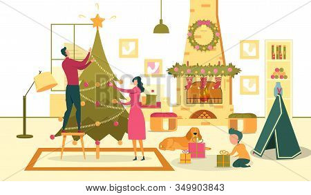 Family With Dog Prepare For Christmas Holidays. Woman With Man Decorates Christmas Tree. Son Packs G