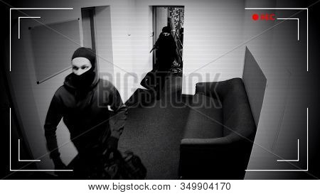 Undefined Thieves Escaping From Place Of Crime, Armed Robbery, Cctv Effect