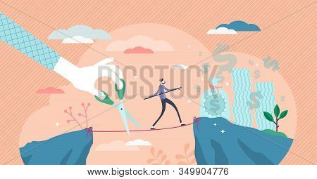 Envy Symbolic Abstract Concept, Flat Tiny Person Vector Illustration. Walking And Balancing On The R