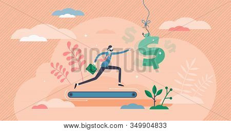 Greed Concept, Flat Tiny Person Vector Illustration. Businessman Never Ending Running On A Treadmill
