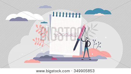 Goodwill Concept, Flat Tiny Person Vector Illustration. Handwritten Notebook Item With Personal Goal