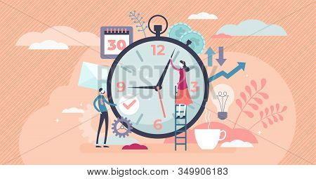 Time Management Concept, Flat Tiny Persons Vector Illustration. Married Couple Planning Daily Life T
