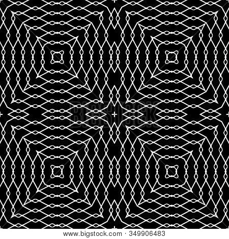 Lacy Geometric Black And White Vector Seamless Pattern. Intricate Grid Background. Monochrome Repeat
