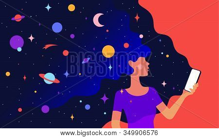 Modern Flat Character. Character Of Woman Girl With Universe Dreams In Hair And Phone In Hand. Woman