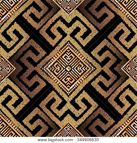 Grunge Textured Gold 3d Tribal Vector Seamless Pattern. Geometric Modern Stipples Background. Repeat