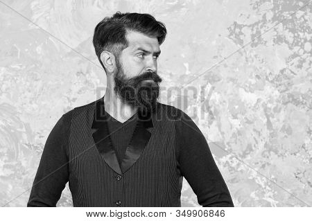 Moustache Style. Well Groomed Hipster. Barbershop Concept. Beauty Industry. Facial Hair Care. Mature