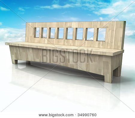 wooden bench with blue sky