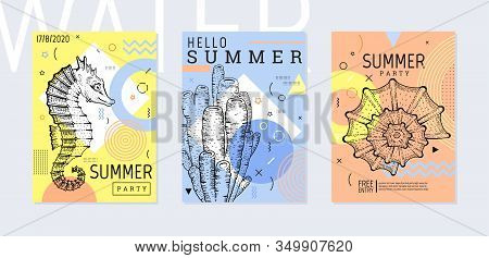 Summer Party Poster Set, Geometric Memphis Style. Cool Trendy Flyer With Type Quote. Sea Ocean Eleme