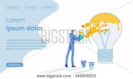 Businessman Cartoon Character Painting Big Electric Bulb As Creative Mind And Originative Progressiv