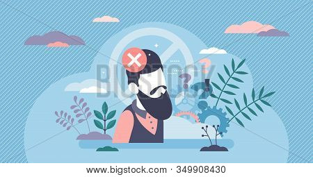 Bias Concept Flat Tiny Person Vector Illustration. Biased Person With Mental Blocks And Filters Towa