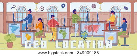 Geo Location And Gps System Word Concept Banner. Navigation Service Experts Cartoon Characters. Glob