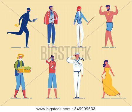 Different People, Men And Women Cartoon Characters Set. Various Social Groups And Society Sectors Pe