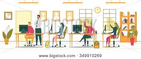 Students Sitting At Classroom And Doing Test On Desktops At College Or University Flat Cartoon Vecto